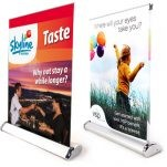 "Mini Table Top Retractable Banner Stand w/ Graphic - 12""x16.5"""